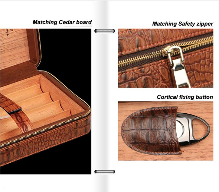 Custom Brown Leather Collection 12 Count Travel Cigar Humidor
