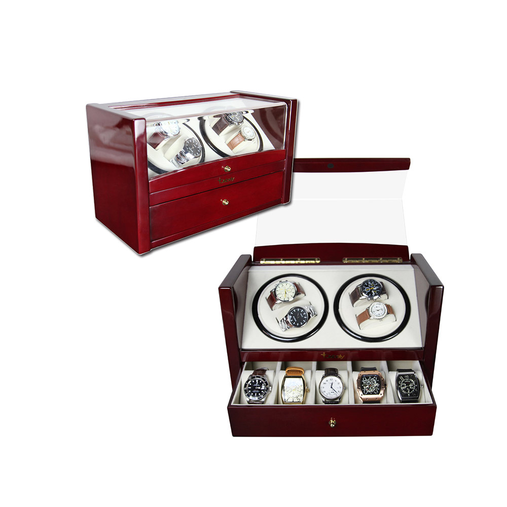 Custom Watch Shaker 4 5 Luxury Wooden Watch Winder For Home Use Or Collection Black Color Watch Winder Wooden