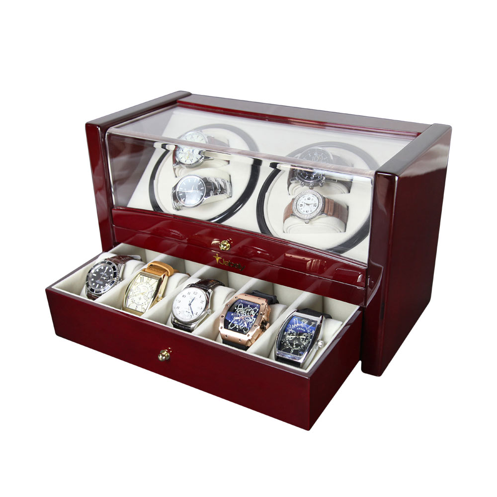 Custom Watch Shaker 4+5 Luxury Wooden Watch Winder For Home Use Or Collection Black Color Watch Winder Wooden