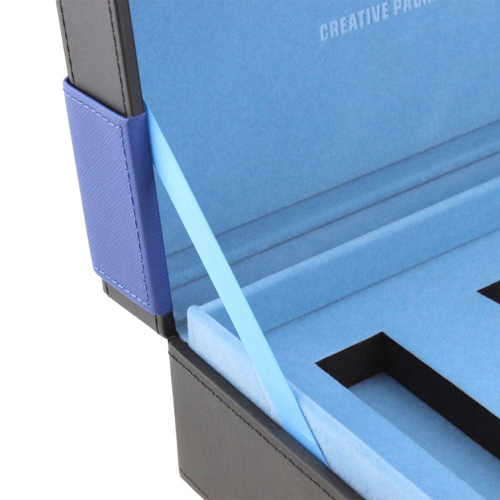 Luxury Classy Cardboard Surprise Custom Logo Blue Three Bottles Leather Perfume Gift Box Package  Factory