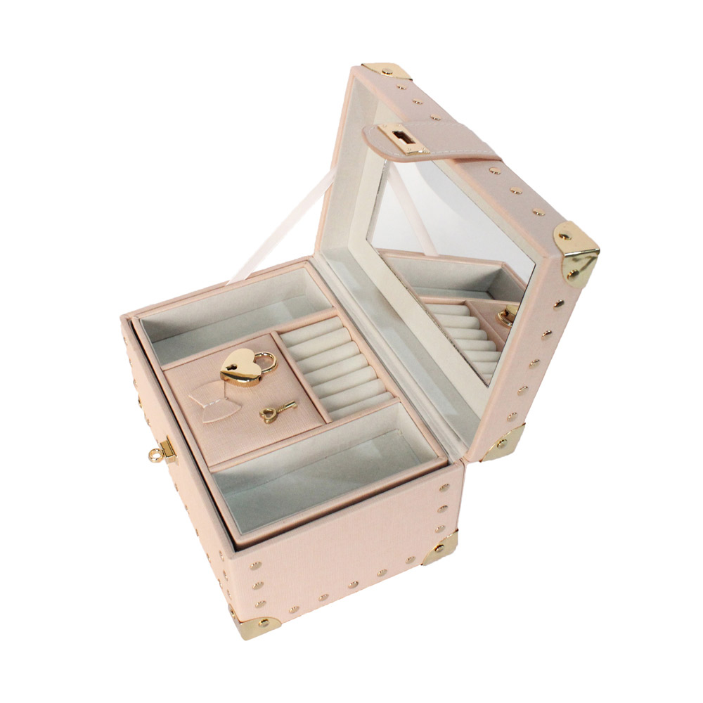 PU Leather Travel Jewelry Box For Lady Organizer Display Storage Case For Rings Earrings Necklace