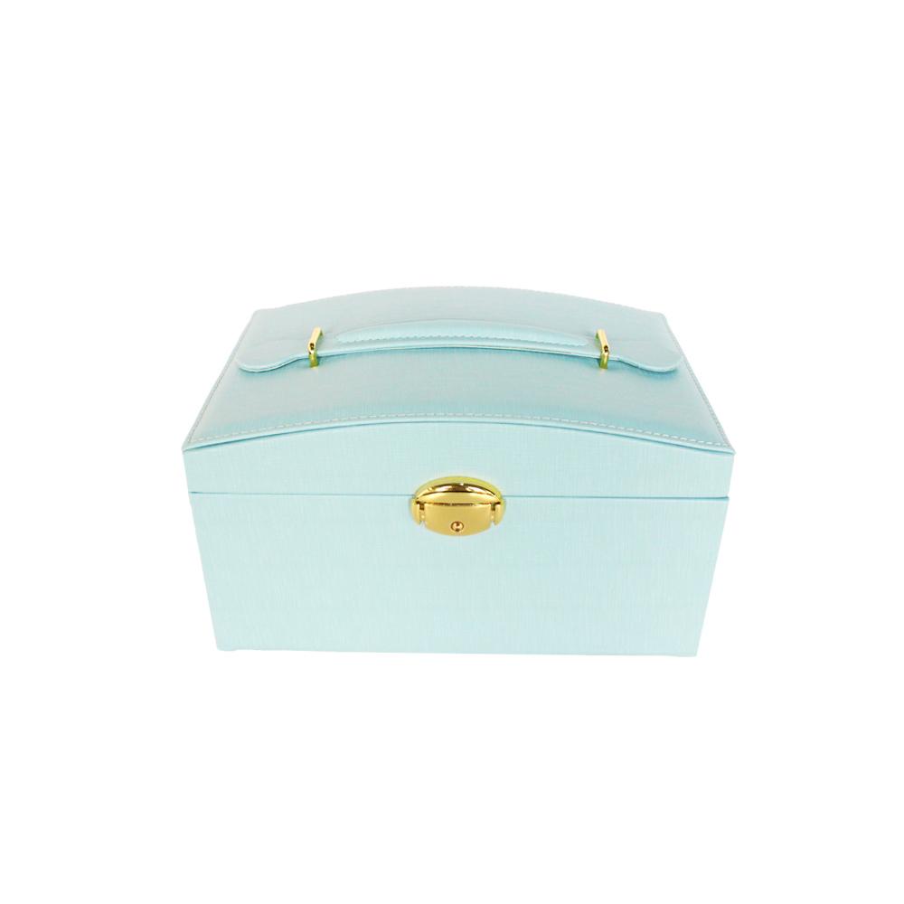 Blue Pu Jewelry Packaging Box With Key Handmade Jewelry Display Organizer Box With HD Mirror