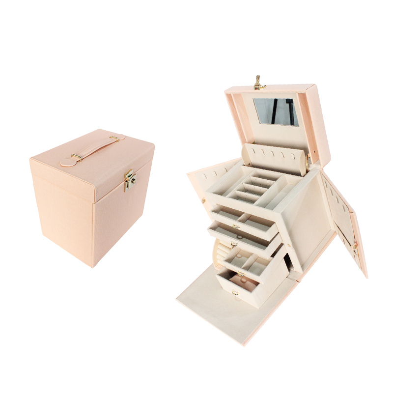 Pink PU Leather Jewelry Box Ring Earring Storage Box With Drawers