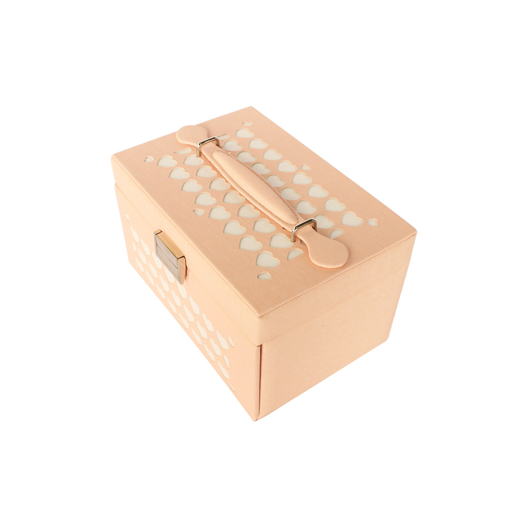 Pink Color Pu Leather Birthday Jewellery Gift Box With Lock Mother'S Day Gift Custom Jewelry Box