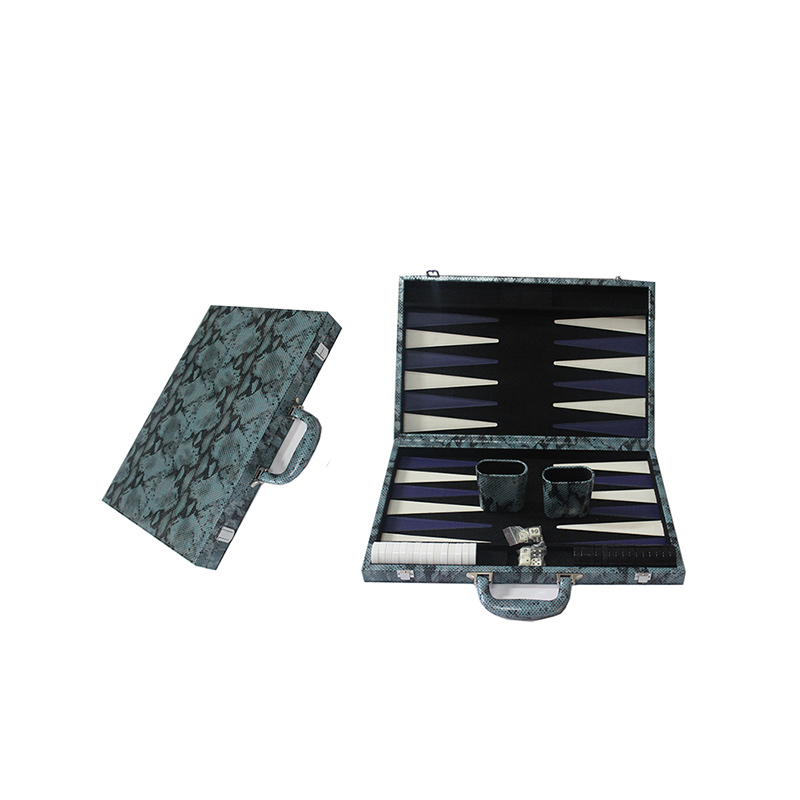 11 Inch Classic PP Backgammon Set Crocodile Texture Faux Leather Portable Travel Folding Case