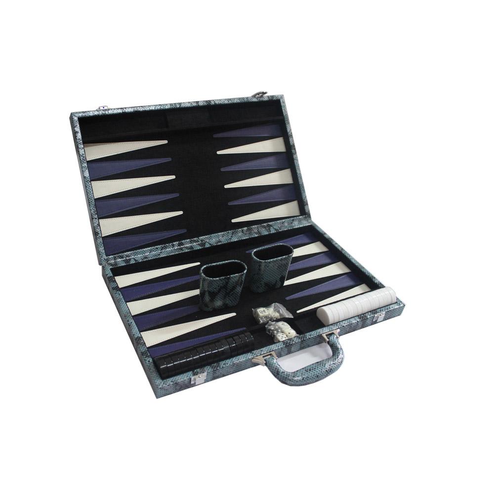 11 Inch Classic PP Backgammon Set Crocodile Texture Faux Leather Portable Travel Folding Case