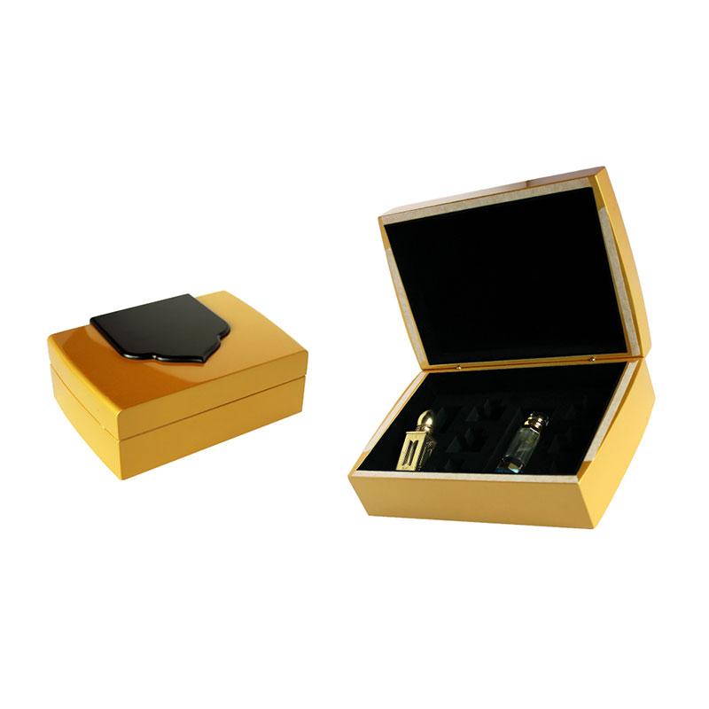 High Quality Glossy Golden 3ml Wood Locked Perfume Box Supplier in China